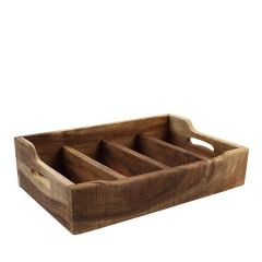 Acacia Wood Natural Nordic Extra Large Cutlery Tray 31.4x48.5x13cm