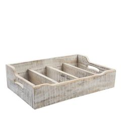 Acacia Wood White Nordic Extra Large Cutlery Tray 31.4x48.5x13cm