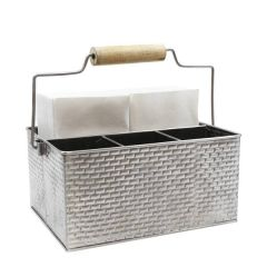 "Brickhouse Stainless Steel Table Caddy with Wooden Handle 10.8x8.3x4.7"" / 27.5x21x12cm"