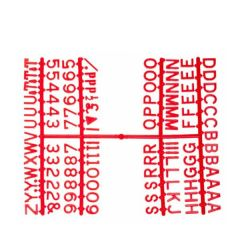 """Retro Style Peg Board Red Letter Set of Six Frames 0.5"""" / 1.2cm"""