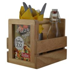 "Rubberwood Condiment Caddy with Menu / Sign Holder 8x6.8"" / 20.5x17.5cm (WxH)"