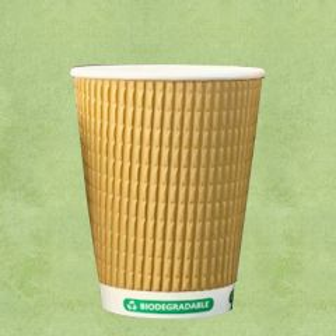 Biodegradable Kraft Triple Wall Hot Cup 12oz / 34cl