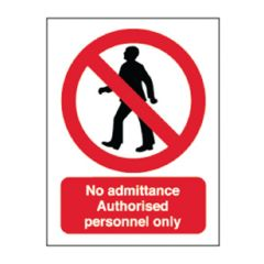 Red 'No Admittance Authorised Personnel Only' Sticker 20x15cm