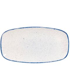 "Churchill Stonecast Hints Indigo Blue Oblong Plate No.4, 13.875x7.375"" / 35.5x18.9cm"