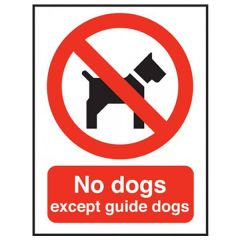 Red 'No Dogs Except Guide Dogs' Window Sticker 20x15cm