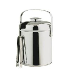"Stainless Steel Ice Bucket with Tongs 1.3Ltr, 5.5"" / 14cm"