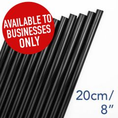 "Black Straight Jumbo Straw 6mm Bore 8"" / 20cm"