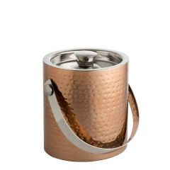 Plated Copper Ice Bucket with Tongs