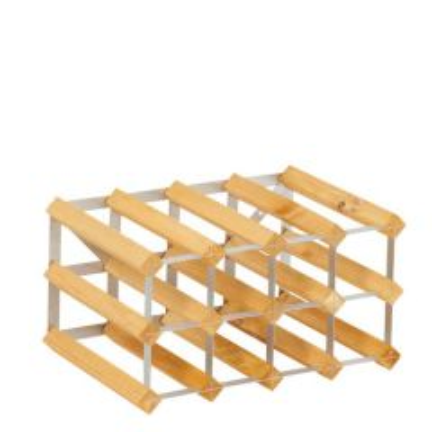 Assembled Light Oak Finish Wood & Metal Wine Rack 30 Bottle 612 x 420 x 228mm