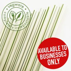 "Vegware Compostable PLA Green Stripe Jumbo Straw 7mm Bore 8"" / 20cm"