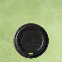 CPLA Compostable Black Lid to Fit 12oz/34cl & 16oz/45cl Hot Cup