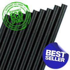 "Black Paper Straw 6mm Bore 8"" / 20cm"