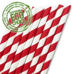 "Red & White Stripe Paper Straw 6mm Bore 8"" / 20cm"