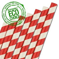 "Red & White Striped Paper Smoothie Straw 8mm Bore 9"" / 23cm"
