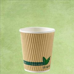 Compostable PLA Lined Kraft Ripple Hot Cup 8oz / 22cl