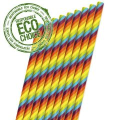 "Rainbow Stripe Paper Sip Straw 6mm Bore 5.5"" / 14cm"