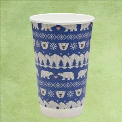 Vegware Christmas Blue Polar Bear Double Wall PLA Coffee Cup 16oz / 45cl