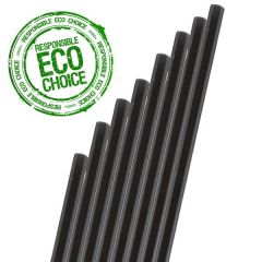 "Black Paper Sip Straw 6mm Bore 5.5"" / 14cm"