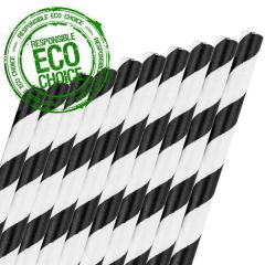 "Black & White Stripe Paper Straw 6mm Bore 8"" / 20cm"