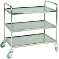 """Stainless Steel 3 Tier Clearing Trolley Flat Packed 32.5x20x36.6"""" / 83x51x95cm"""
