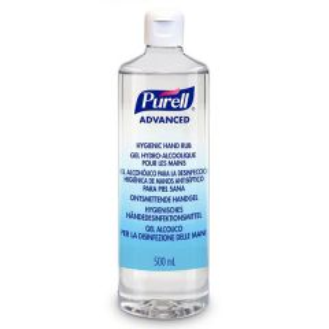 Purell  Hygienic Alcohol Hand Sanitiser Gel Rub with Flip-top Cap  500ml (EN14476)