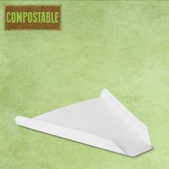 "Compostable White Pizza Slice Tray 7x6.5"" / 17.8x16.5cm"