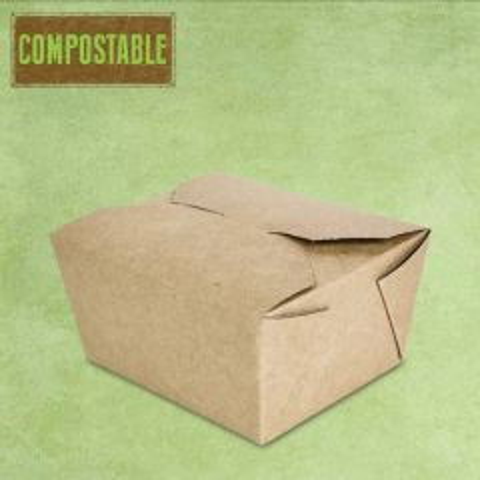 Compostable Kraft No.1 Food Carton 755ml, 11x9x6.5cm