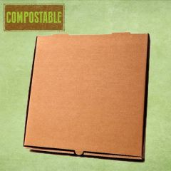 "Compostable Plain Brown Cardboard Pizza Delivery Box 10"" / 25cm"