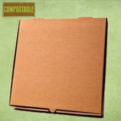 "Compostable Plain Brown Cardboard Pizza Delivery Box 12"" / 30cm"