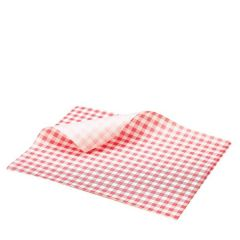 "Red Gingham Printed Greaseproof Paper 10x8"" / 25x20cm"