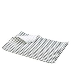 "Black Gingham Printed Greaseproof Paper 10x8"" / 25x20cm"