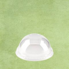 PLA Eco-Friendly Dome Smoothie Cup Lid without Hole Clear to fit 9-16oz Cup