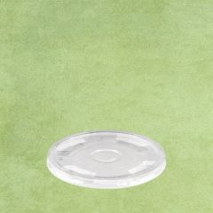 PLA Eco-Friendly Flat Smoothie Cup Lid with Straw Slot Clear To Fit 9-16oz Cup
