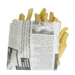 Newspaper Print Open 2 Sided Greaseproof Bag 17x17cm