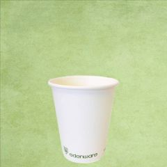 Single Wall PLA Lined Plain White Hot Drinks Cup 4oz / 11cl