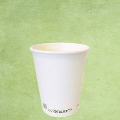 Single Wall PLA Lined Plain White Hot Drinks Cup 8oz / 22cl