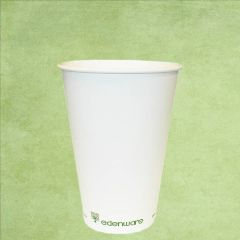 Single Wall PLA Lined Plain White Hot Drinks Cup 12oz / 34cl