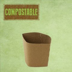 Disposable Kraft Hot Cup Collar / Clutch To Fit 8-10oz Hot Cup