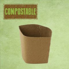Disposable Kraft Hot Cup Collar / Clutch To Fit 12-16oz Hot Cup