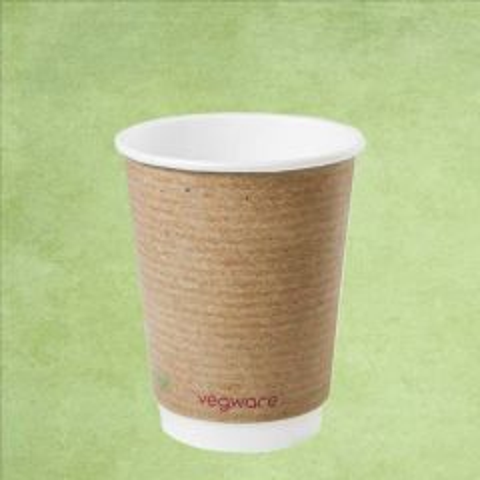 Vegware Eco-Friendly Kraft Double Wall Coffee Cup 12oz / 34cl