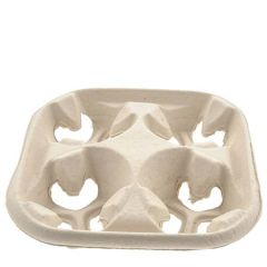 Huhtamaki Strongholder Moulded Fibreboard 4 Cup Carry Tray