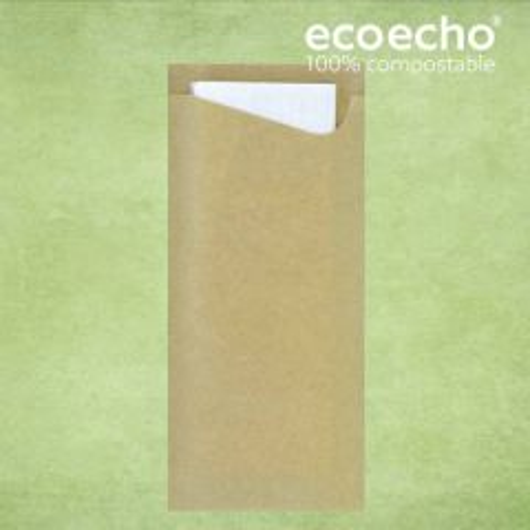Duni Ecoecho '100% Compostable' Sacchetto with Tissue Napkin 8.5x19cm