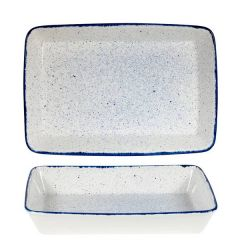 "Churchill Stonecast Hints Indigo Blue Rectangular Baking Dish 15x10x2.5"" / 38x25x6.2cm"