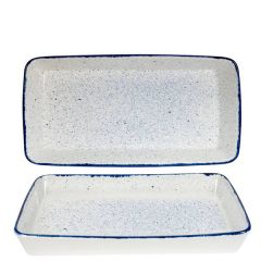 "Churchill Stonecast Hints Indigo Blue Rectangular Baking Dish 21x13x2.5"" / 53x32.5x6.2cm"