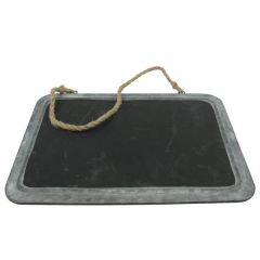 "Rustic Hanging Chalkboard with Metal Frame 15x11"" / 38x28cm"