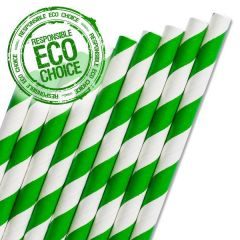 "Dark Green & White Stripe Paper Straw 6mm Bore 8"" / 20cm"