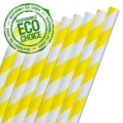 "Yellow & White Stripe Paper Straw 6mm Bore 8"" / 20cm"