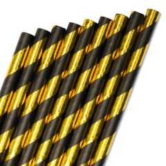 "Gold & Black Stripe Paper Straw 6mm Bore 8"" / 20cm"