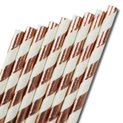 "Bronze & White Stripe Paper Straw 6mm Bore 8"" / 20cm"
