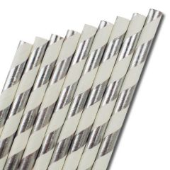 "Silver & White Stripe Paper Straw 6mm Bore 8"" / 20cm"